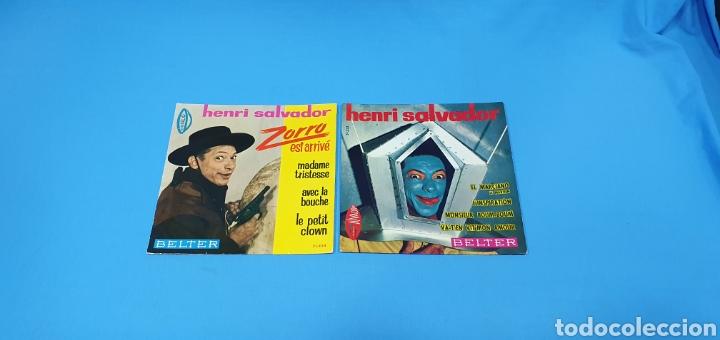 LOTE DE 2 VINILOS DE HENRI SALVADOR - ZORRO EST ARRIVÉ / EL MARCIANO 1964 (Música - Discos de Vinilo - Maxi Singles - Canción Francesa e Italiana)