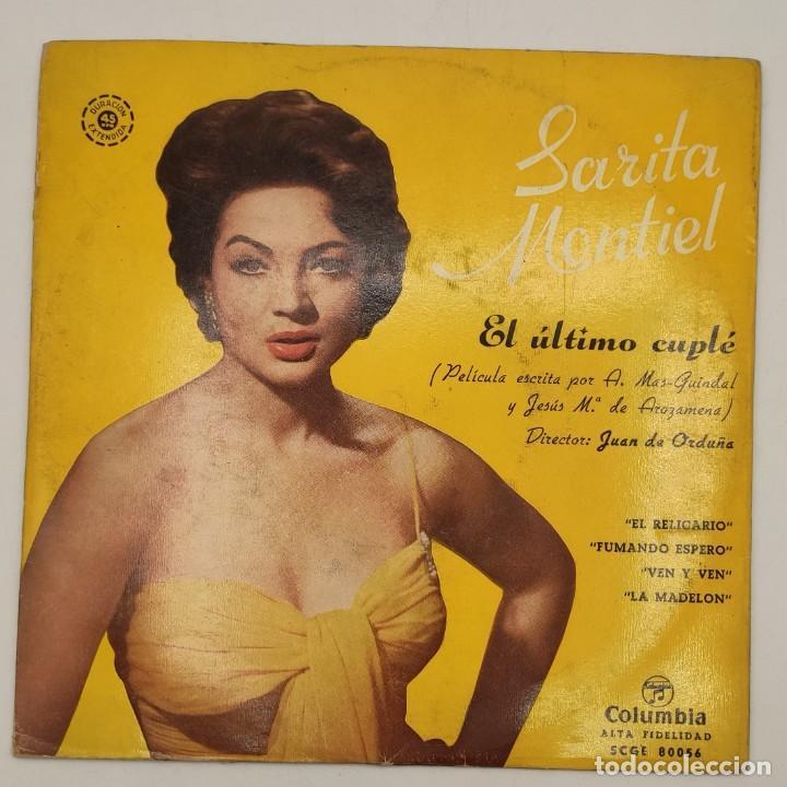 """VINILO DE 7 PULGADAS DE SARITA MONTIEL QUE CONTIENE """"EL RELICARIO"""", """"FUMANDO ESPERO"""", """"VEN Y VEN"""" Y (Música - Discos de Vinilo - EPs - Solistas Españoles de los 50 y 60)"""