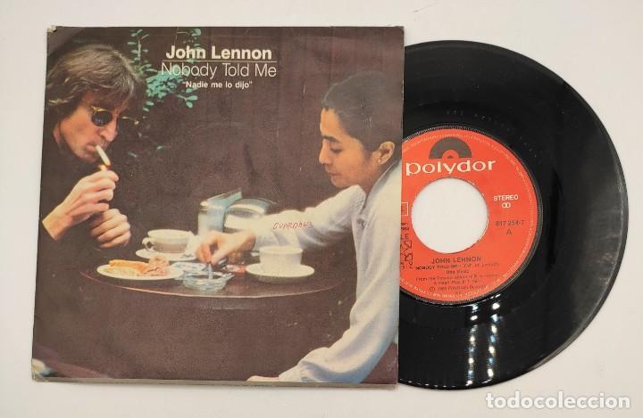 """VINILO DE 7 PULGADAS DE JOHN LENNON Y YOKO ONO QUE CONTIENE """"NOBODY TOLD ME"""" Y """"O'SANITY"""" ... (Música - Discos de Vinilo - EPs - Rock & Roll)"""