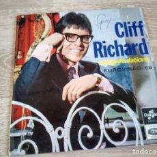 Discos de vinilo: CLIFF RICHARD - CONGRATULATIONS EUROVISION 1968. Lote 269686958