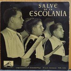 Discos de vinilo: SALVE DE LA ESCOLANIA DE MONTSERRAT SALVE GERMINANS - EP LA VOZ DE SU AMO 1958. Lote 269697068