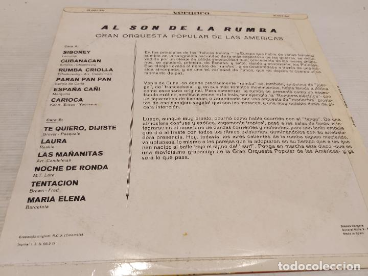 Discos de vinilo: GRAN ORQUESTA POPULAR DE LAS AMÉRICAS / AL SON DE LA RUMBA / LP-ANTENA-1968 / MBC. ***/*** - Foto 2 - 269710113