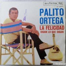 Discos de vinilo: DISCO SINGLE, PALITO ORTEGA - LA FELICIDAD Y DIGAN LO QUE DIGAN, AÑO 1967, RCA VICTOR. Lote 270111443