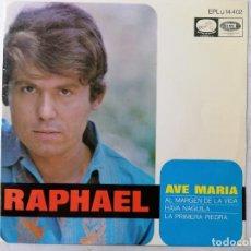 Discos de vinilo: DISCO SINGLE, RAPHAEL - AVE MARIA Y TRES MAS, AÑO 1968, LA VOZ DE SU AMO. Lote 270118013