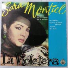 Discos de vinilo: DISCO SINGLE, SARA MONTIEL - LA VIOLETERA Y TRES CANCIONES MAS, 1958, HISPAVOX. Lote 270140093