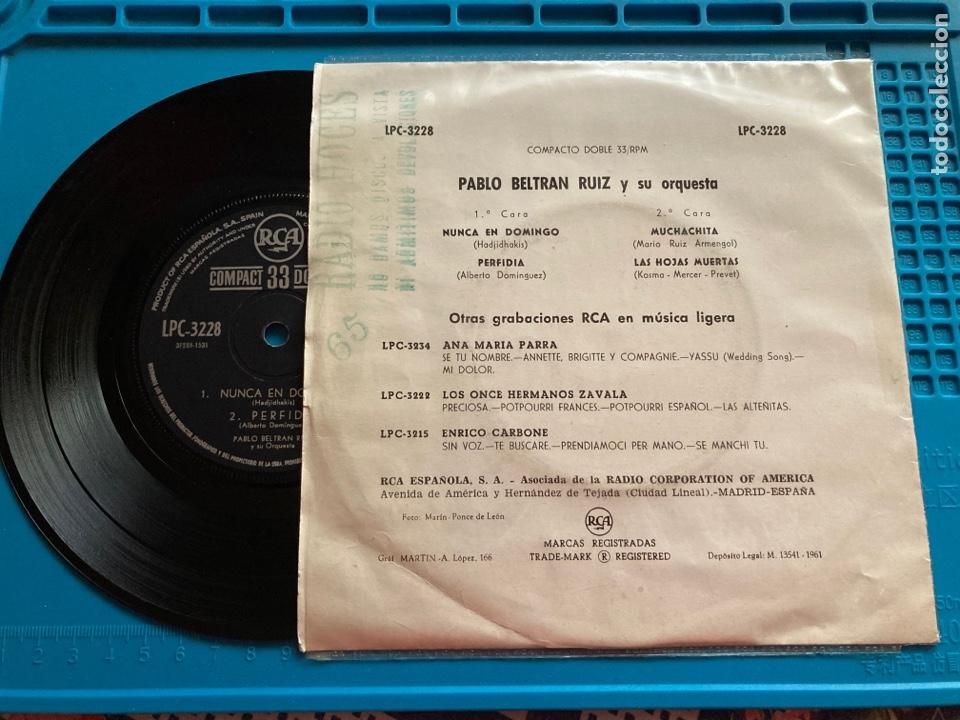 Discos de vinilo: PABLO BELTRAN RUIZ Y SU ORQUESTA. EP 4 canciones 1961 33rpm - Foto 2 - 270147518