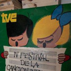 Discos de vinilo: TVE - IV FESTIVAL DE LA CANCION INFANTIL. Lote 270173703