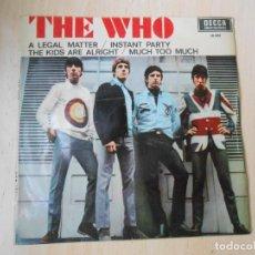 Discos de vinilo: WHO, THE, EP, A LEGAL MATTER + 3, AÑO 1966. Lote 270197603