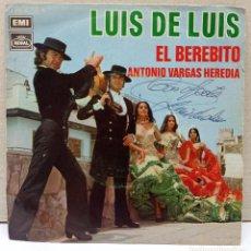 Discos de vinilo: LUIS DE LUIS / EL BEREBITO / ANTONIO VARGAS HEREDIA (SINGLE 1971) FLAMENCO. Lote 270367683