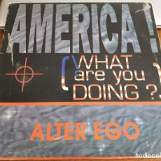 """Discos de vinilo: ALTER EGO – AMERICA! (WHAT ARE YOU DOING?) MAX MUSIC – NM722MX 12"""", MAXI 1993 . VG+ /VG. Lote 270378448"""