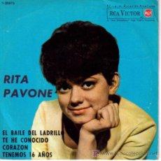 Discos de vinilo: RITA PAVONE-EL BAILE DEL LADRILLO + 3 EP VINILO RARO EDITADO POR RCA EN 1960. Lote 270549518