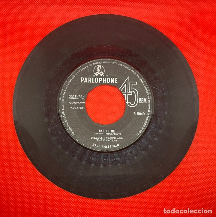 BILLY J. KRAMER BAD TO ME / I CALL YOUR NAME ORIGINAL 1963 UK SINGLE PARLOPHONE R5049 BEATLES (Música - Discos - Singles Vinilo - Pop - Rock Internacional de los 50 y 60)