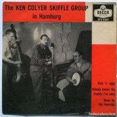 Discos de vinilo: KEN COLYER'S SKIFFLE GROUP. IN HAMBURG: HAM 'N' EGGS/ DOWN BY THE RIVERSIDE/ NOBODY. DECCA UK 1955. Lote 270654433