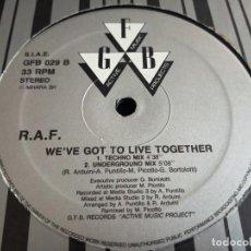 """Discos de vinilo: R.A.F. - WE'VE GOT TO LIVE TOGETHER.GFB RECORDS – GFB 029. 12"""". 1991. VINILO NUEVO.MINT / GENERICA.. Lote 270661293"""