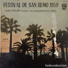 Discos de vinilo: GIAN STELLARI - FESTIVAL DE SAN REMO 1959 - LP ESPAÑOL DE 10 PULGADAS - 25 CM. Lote 270690953