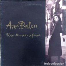 Discos de vinilo: ANA BELEN - ROSA DE AMOR Y FUEGO - LP DE VINILO + FOLDER CARPETA PROMOCIONAL - COMPLETO. Lote 270860833