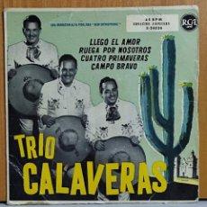 Discos de vinilo: TRÍO CALAVERAS. EP RCA 3-24026. ESPAÑA 1958. LLEGÓ EL AMOR. RUEGA POR NOSOTROS. CUATRO. Lote 270903918