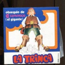 Discos de vinilo: LA TRINCA. FESTA MAJOR. ELS GEGANTS. EDIGSA 1970. PUBLICITAT SUPERMERCATS EL GIGANTE. SP NOU. Lote 270927583