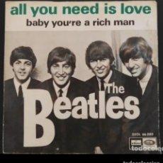 Discos de vinilo: THE BEATLES SINGLE ALL YOU NEED IS LOVE DSOL 66080 SIN TEXTO EN PORTADA BUEN ESTADO. Lote 270962893