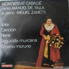 "Discos de vinilo: MONTSERRAT CABALLÉ CANTA MANUEL DE FALLA AL PIANO MIGUEL ZANETTI - JOTA / CANCIÓN / NANA (7""/SINGLE). Lote 270997858"