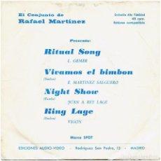 Discos de vinilo: EL CONJUNTO DE RAFAEL MARTÍNEZ - RITUAL SONG - EP SPAIN 1975 - SPOT (AUDIO-VIDEO, S.A.) S-1065. Lote 271390148