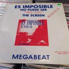 Discos de vinilo: MEGABEAT–ES IMPOSIBLE, NO PUEDE SER / THE SCREEN (REMIX '91 ) MAXI VINILO.. Lote 271397273