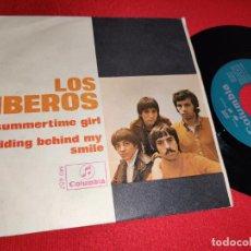 Discos de vinilo: LOS IBEROS HIDING BEHIND MY SMILE/SUMMERTIME GIRL 7'' SINGLE 1968 COLUMBIA. Lote 271551443