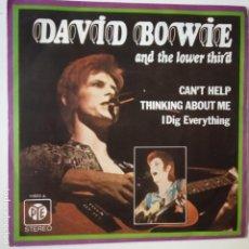 Discos de vinilo: DAVID BOWIE- CAN´T HELP THINKING ABOUT ME- UK SINGLE 1972- VINILO CASI NUEVO.. Lote 271560143
