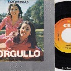 Discos de vinilo: LAS GRECAS - ORGULLO - SINGLE DE VINILO. Lote 271576468