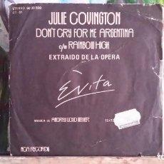 Discos de vinilo: ** JULIE COVINGTON - DON'T CRY FOR ME ARGENTINA - SG AÑO 1976 - LEER DESCRIPCIÓN. Lote 271619393