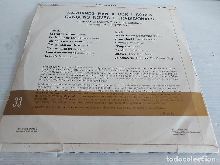 Discos de vinilo: ORFEÓ GRACIENC I COBLA LAIETANA / SARDANES PER A COR I COBLA / LP-VERGARA-1968 / MBC. ***/*** - Foto 2 - 271625553