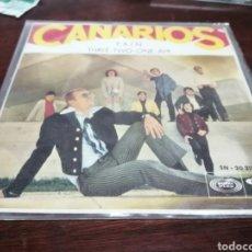 Discos de vinilo: SINGLE LOS CANARIOS PAIN CON PORTADA BUENISIMA!. Lote 271698588