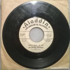 Discos de vinilo: THE BROWN BROTHERS. YOU'RE RIGHT I'M LEFT/ LET THE GOOD TIMES ROLL. ALADIN, USA 1958 SINGLE PROMO. Lote 271698798
