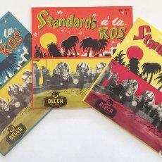 Discos de vinilo: EDMUNDO ROS & HIS ORCHESTRA – STANDARDS Á LA ROS (PARTS 1-2-3) 3 EPS SWEDEN,1956 DECCA. Lote 271698938