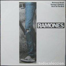 Discos de vinilo: RAMONES – ROCKAWAY BEACH / TEENAGE LOBOTOMY / BEAT ON THE BRAT. Lote 271886523