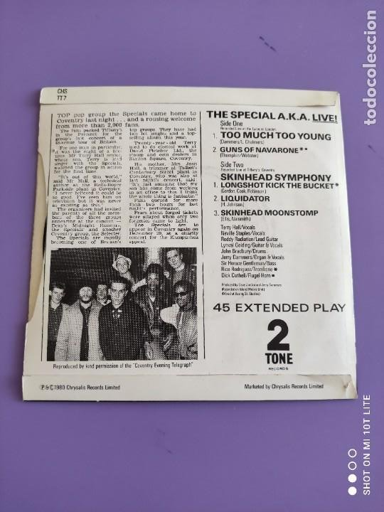 Discos de vinilo: JOYA EP SKA. THE SPECIAL AKA-LIVE. TOO MUCH TOO YOUNG+4. AÑO 1980. UK. 2 ZONE CHS TT7.THE SPECIALS. - Foto 4 - 272079773