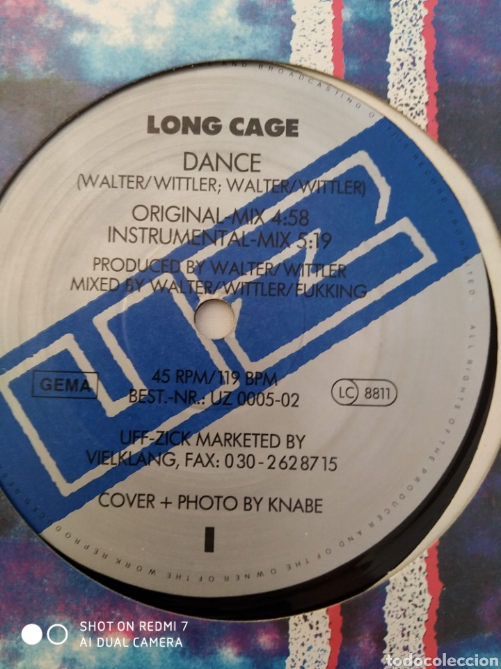 """Discos de vinilo: Long Cage,Dance, Aleman euro house 12"""" UZ 0005-02 - Foto 8 - 272642083"""