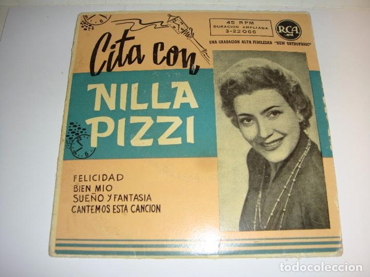 DISCO DE VINILO. SINGLE. NILLA PIZZI (FELICIDAD/ BIEN MIO/ SUEÑO Y FANTASÍA / CANTEMOS ESTA CANCIÓN) (Música - Discos de Vinilo - Maxi Singles - Canción Francesa e Italiana)