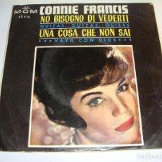Discos de vinilo: DISCO DE VINILO. SINGLE. CONNIE FRANCIS. (QUIZÁS, QUIZÁS/ VAYA CON DIOS...). Lote 272905503