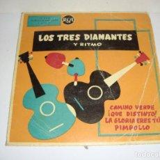 Discos de vinilo: DISCO DE VINILO. SINGLE. LOS TRES DIAMANTES Y RITMO (CAMINO VERDE/QUE DISTINTO/PIMPOLLO...). Lote 272912673