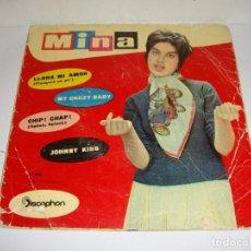 Discos de vinilo: DISCO DE VINILO. SINGLE. MINA (LLORA MI AMOR/MY CRAZY BABY/CHIP, CHAP/JOHNNY KISS). Lote 272914568