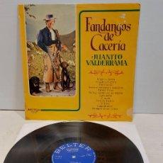 Discos de vinilo: JUANITO VALDERRAMA / FANDANGOS DE CACERÍA / LP - BELTER-1972 / MBC. ***/***. Lote 273490313