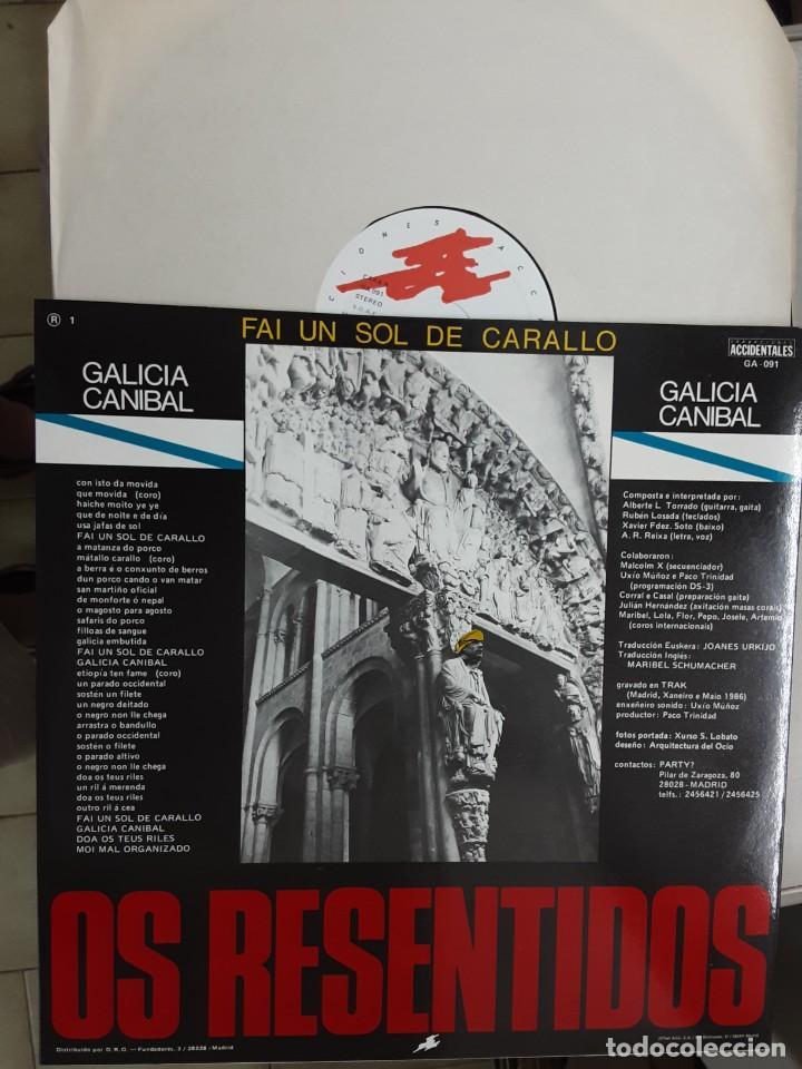 """Discos de vinilo: 12"""" OS RESENTIDOS, FAI UN SOL DE CARALLO, GALICIA CANIBAL - Foto 2 - 273728413"""
