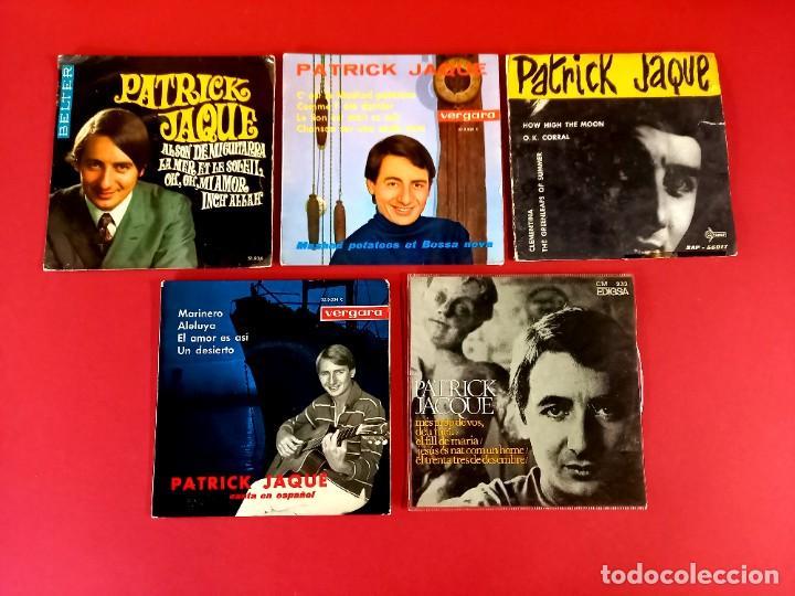 5 SINGLES DE PATRICK JACQUE -INCLUYE DOS CON DEDICATORIAS Y AUTOGRAFO ORIGINAL-AÑOS 60 (Música - Discos - Singles Vinilo - Canción Francesa e Italiana)