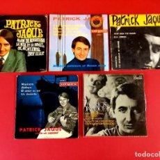 Discos de vinilo: 5 SINGLES DE PATRICK JACQUE -INCLUYE DOS CON DEDICATORIAS Y AUTOGRAFO ORIGINAL-AÑOS 60. Lote 274168863