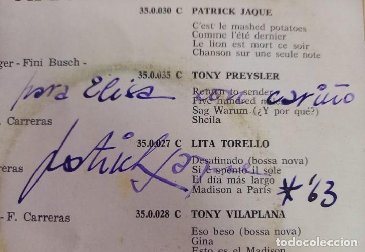 Discos de vinilo: 5 SINGLES DE PATRICK JACQUE -INCLUYE DOS CON DEDICATORIAS Y AUTOGRAFO ORIGINAL-AÑOS 60 - Foto 2 - 274168863
