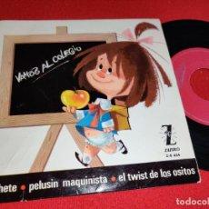 Discos de vinilo: LOS CHAVALITOS TV VAMOS AL COLEGIO/PELUSIN MAQUINISTA/EL COHETE +1 EP 7'' 1965 ZAFIRO. Lote 274182643