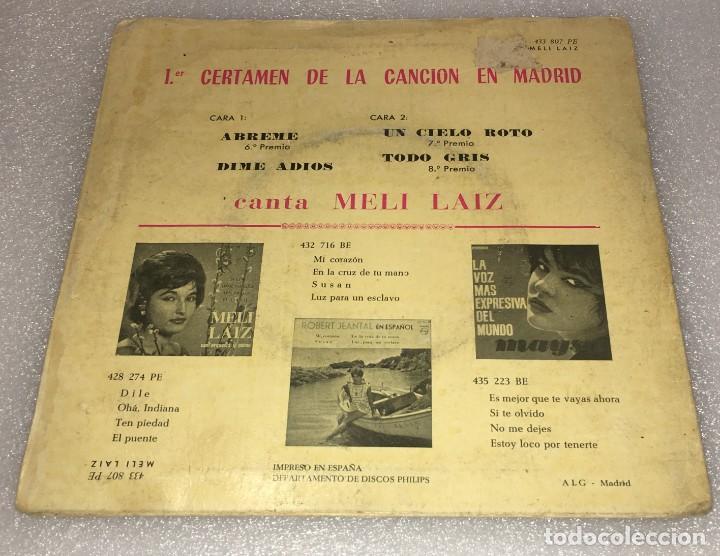 Discos de vinilo: EP MELI LAIZ PRIMER CERTAMEN CANCION EN MADRID- ABREME Y OTROS TEMAS - PHILIPS -PEDIDO MINIMO 7€ - Foto 2 - 274191918