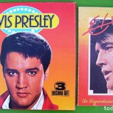 Discos de vinilo: ELVIS PRESLEY - 60 GOLDEN HITS (CAJA CON 3 LPS) + LIBRO DE ELVIS EN ALEMÁN. Lote 274260293