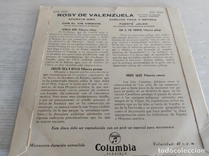 Discos de vinilo: CANTA ROSY DE VALENZUELA / EP - COLUMBIA-AÑOS 50 / MBC. ***/*** - Foto 2 - 274322998
